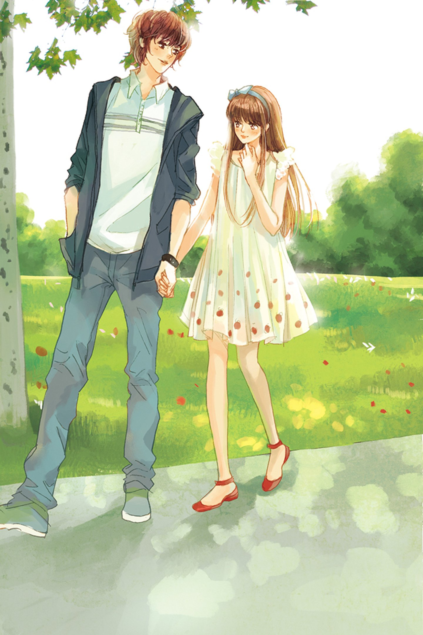 Anime Boy And Girl In Love Wallpaper : Love anime couple boy girl tree red shoes white dress wallpaper 1440x2160 478694 WallpaperUP
