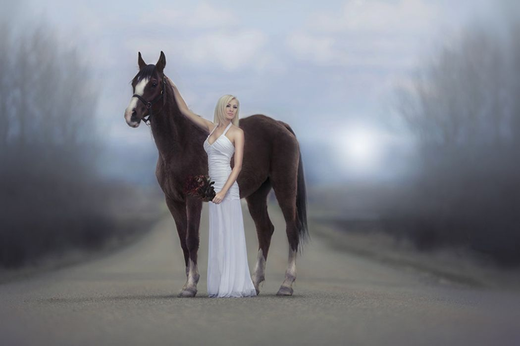 blonde horse way woman wallpaper