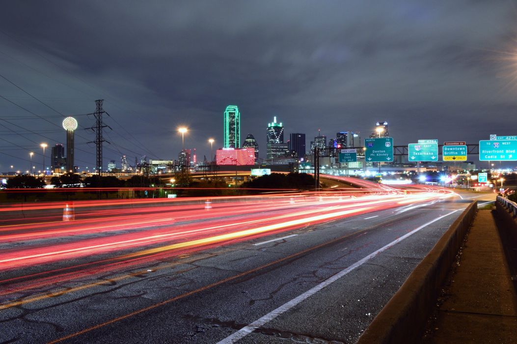 Dallas architecture bridges cities City texas Night towers buildings USA Downtown Oak-Lawn Lakewood Fair Park Lake-Highland White-Rock-Lake Oak-Cliff offices storehouses stores roads highways wallpaper