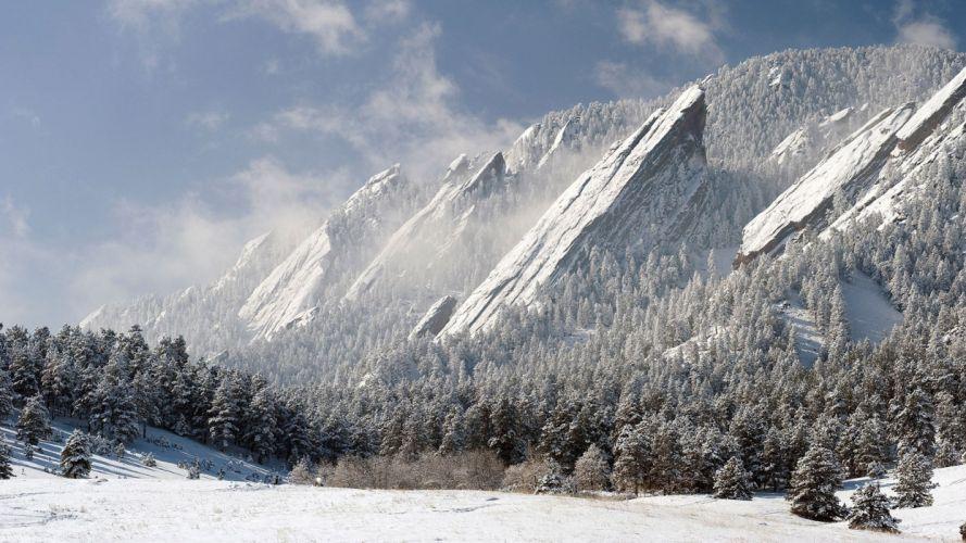 Mountains nature wild sky blue snow high wallpaper
