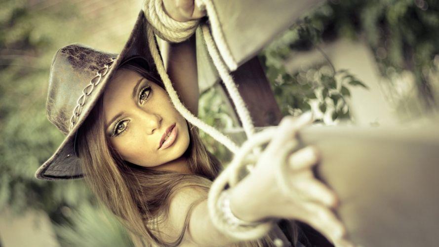 cowgirl hat model woman beauty wallpaper