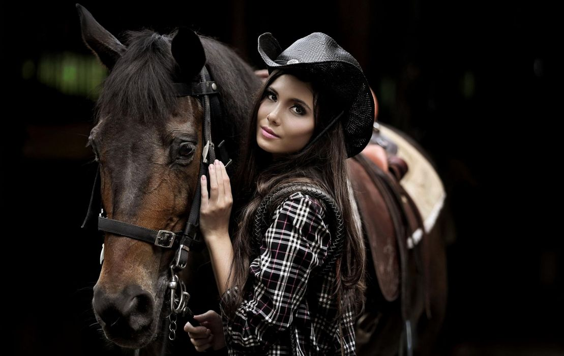 cowgirl country brunette horse wallpaper