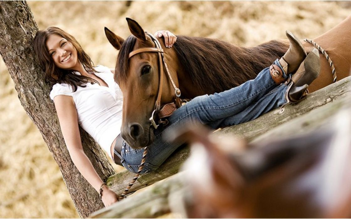 cowgirl saddle fence horse woman female wallpaper