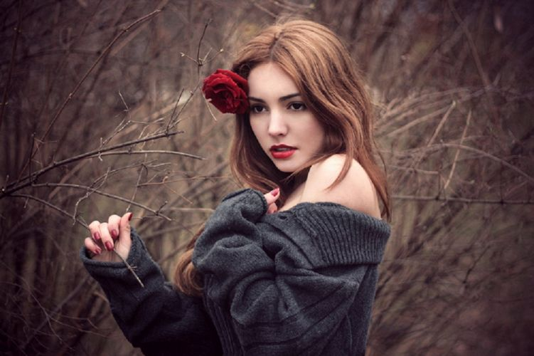 flower model beautiful woman red rose photography brunette rose autumn beauty wallpaper
