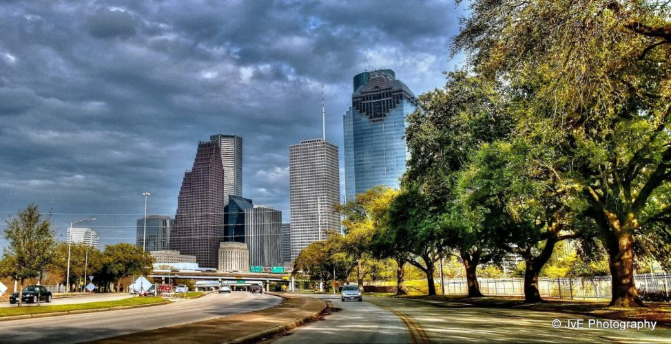 Houston architecture bridges cities City texas Night towers buildings USA Downtown offices storehouses stores wallpaper