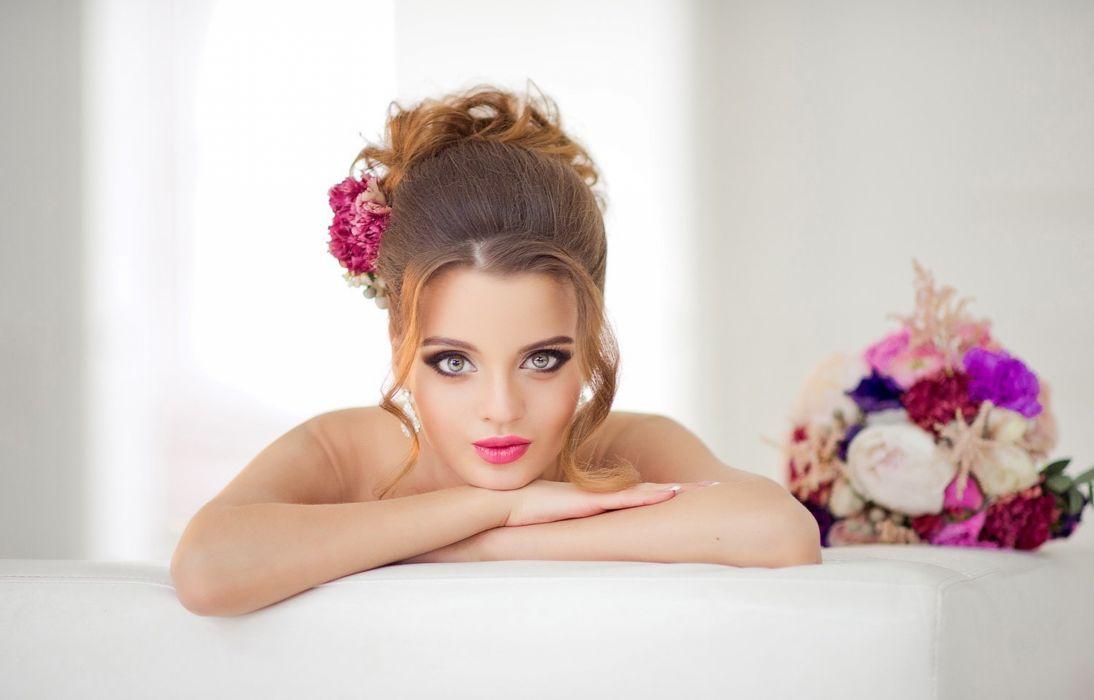 beauty bride eyes flowers wallpaper
