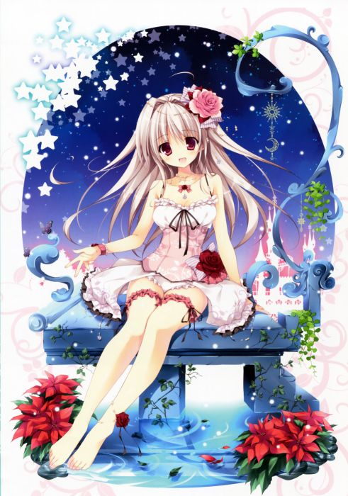 anime girl red flowers stars rose pink dress blue sky wallpaper