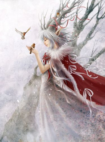 animal bird white fairy red cloak snow tree wallpaper