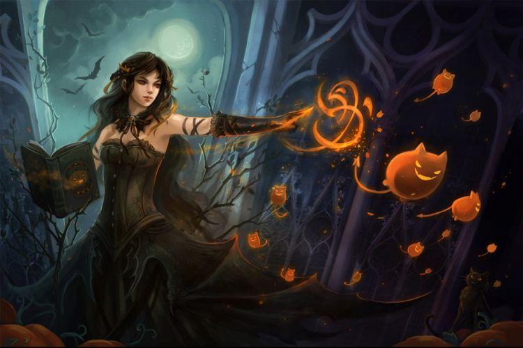 witch magic book dark scary monster bat moon wallpaper