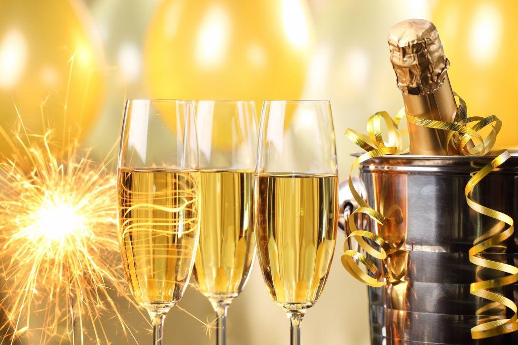 Happy New Year champagne golden celebration holiday New Year champagne glasses serpentine bucket bottle sparklers balloons wallpaper
