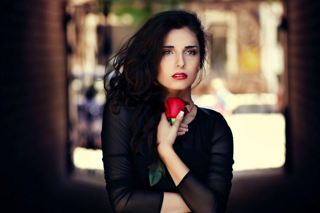 red rose sweet girl beauty wallpaper