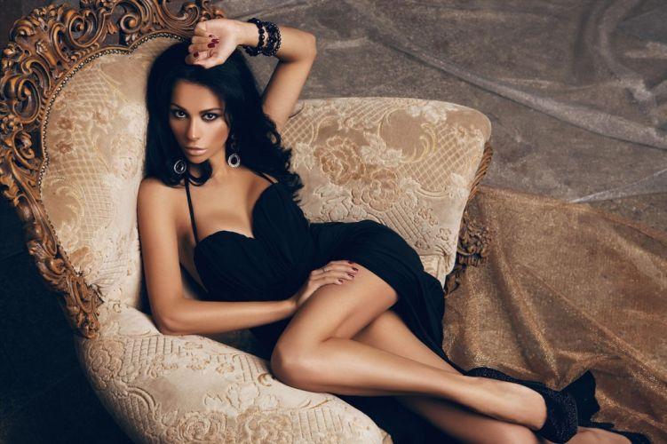 dress brunette black woman model wallpaper