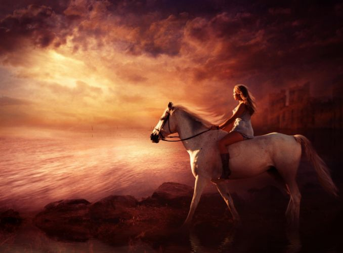 white horse animal woman wallpaper