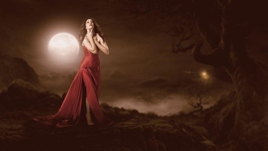 dress moonlight night woman wallpaper