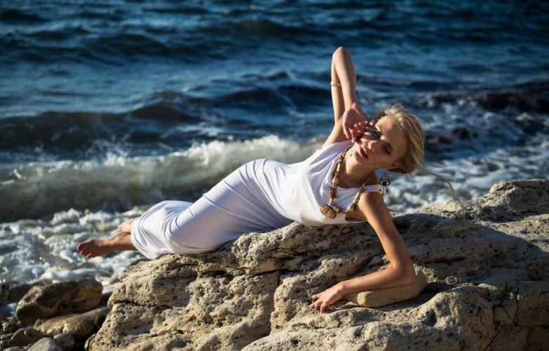 blonde dress white woman sea wallpaper