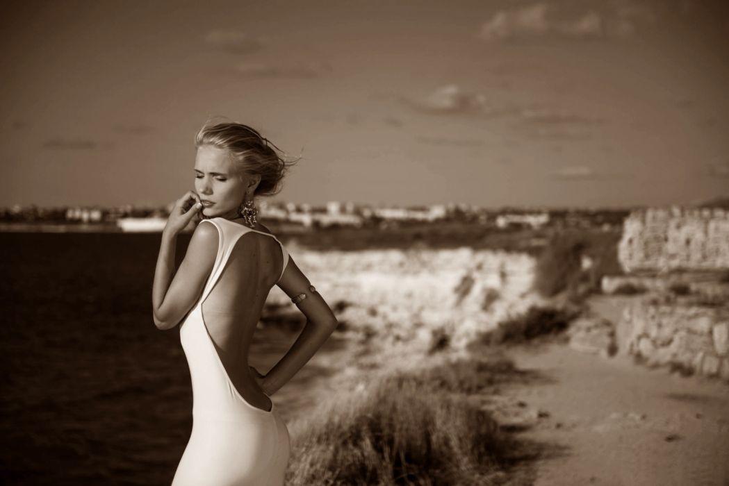 blonde model dress woman wallpaper