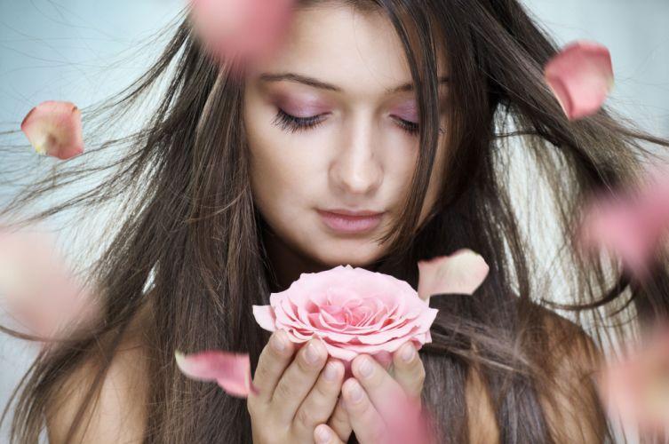 flower model rose lady pink wallpaper