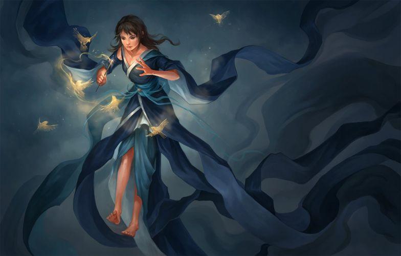fairy magic bird witch fantastic blue dress brown eyes wallpaper