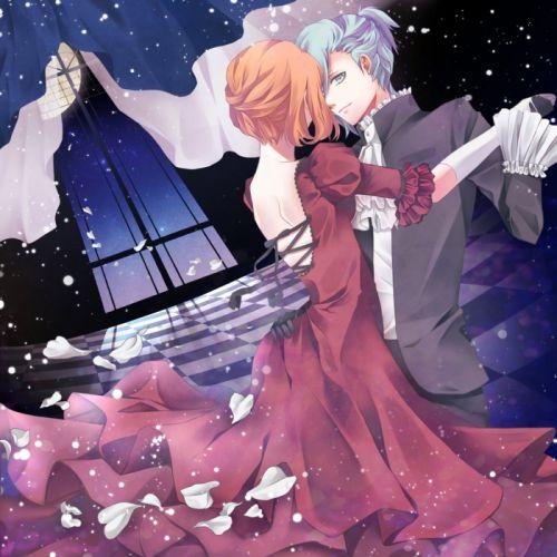 night window couple love dance flower petals red dress short hair wallpaper