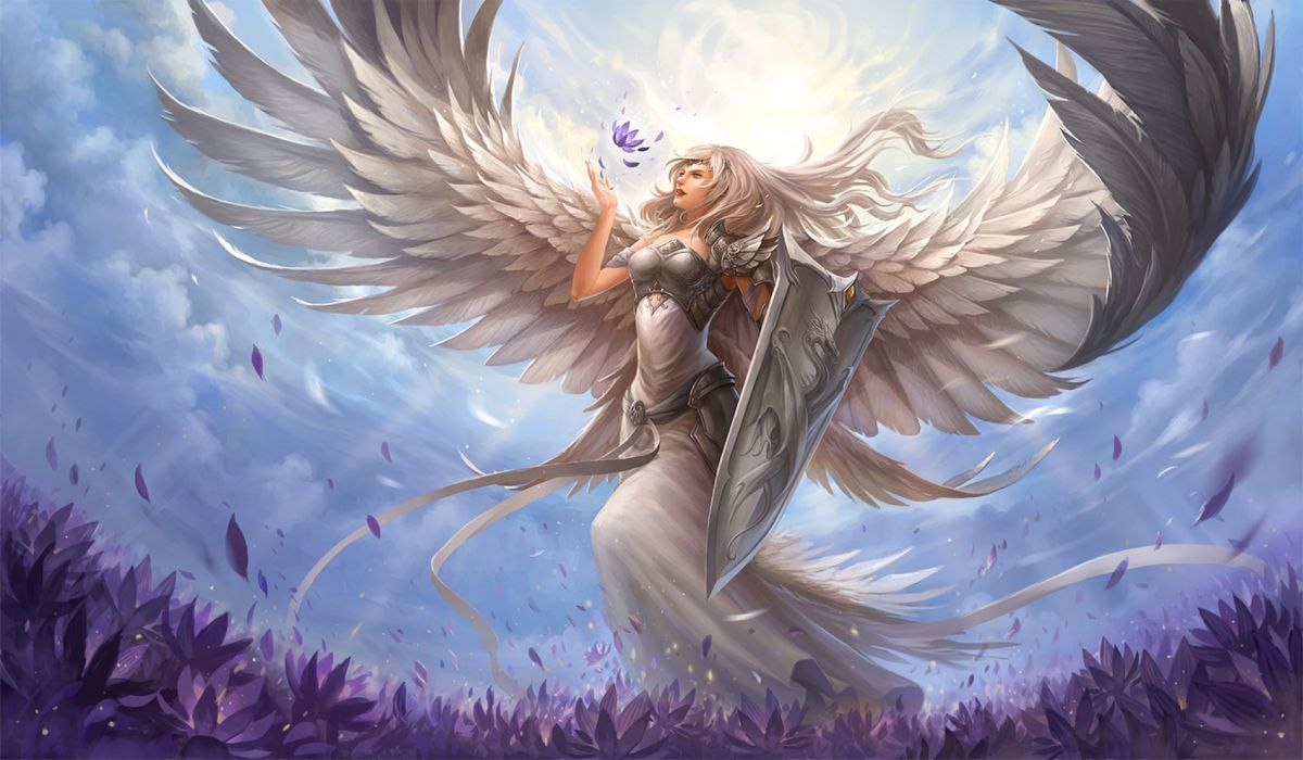 fantasy angel warrior sword flower blue sky dragon designe wallpaper