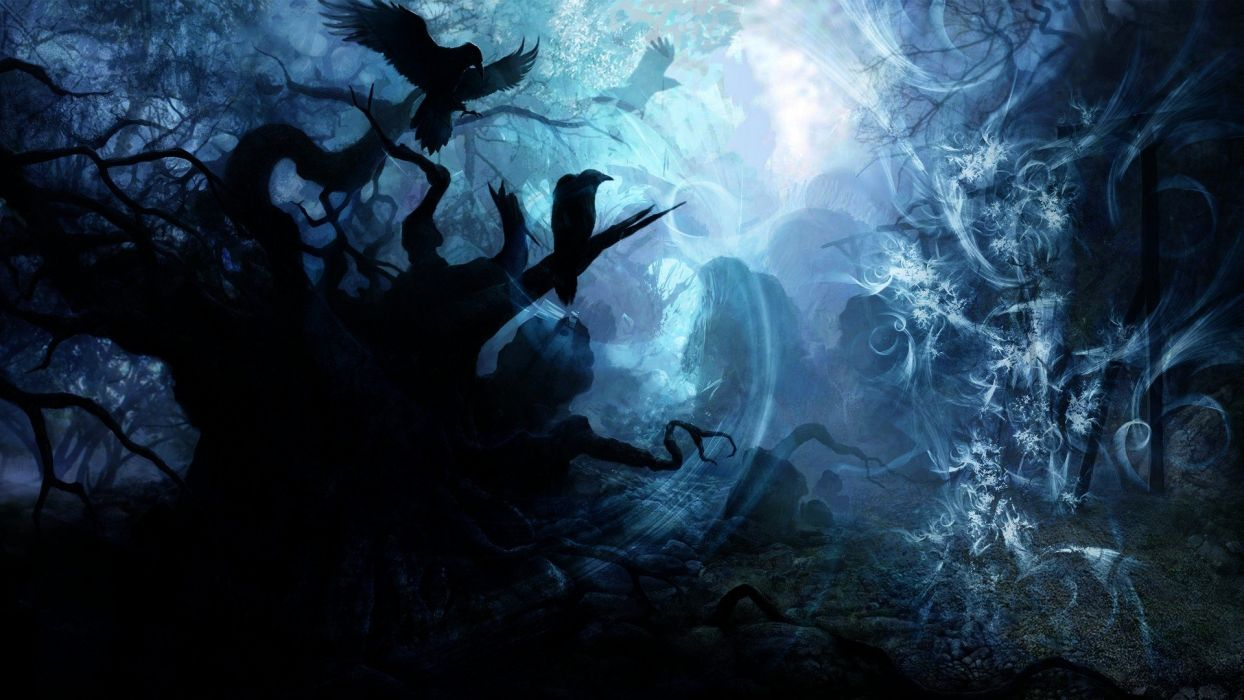 CROWS IN A DARK - forest haunting wallpaper