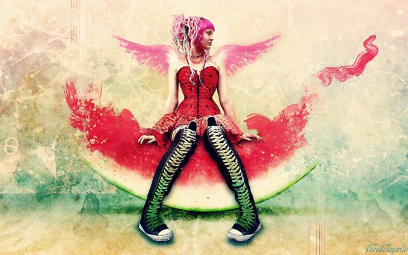 EMO GIRL - art pink watermelon wallpaper