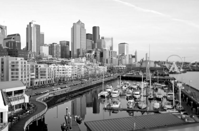 architecture bridges buildings cities City Downtown Night offices storehouses stores towers USA docks port art Seattle Washington Queen-City Jet-City monorail docks port wallpaper