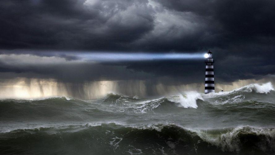 LIGHTHOUSE - storm sea wallpaper
