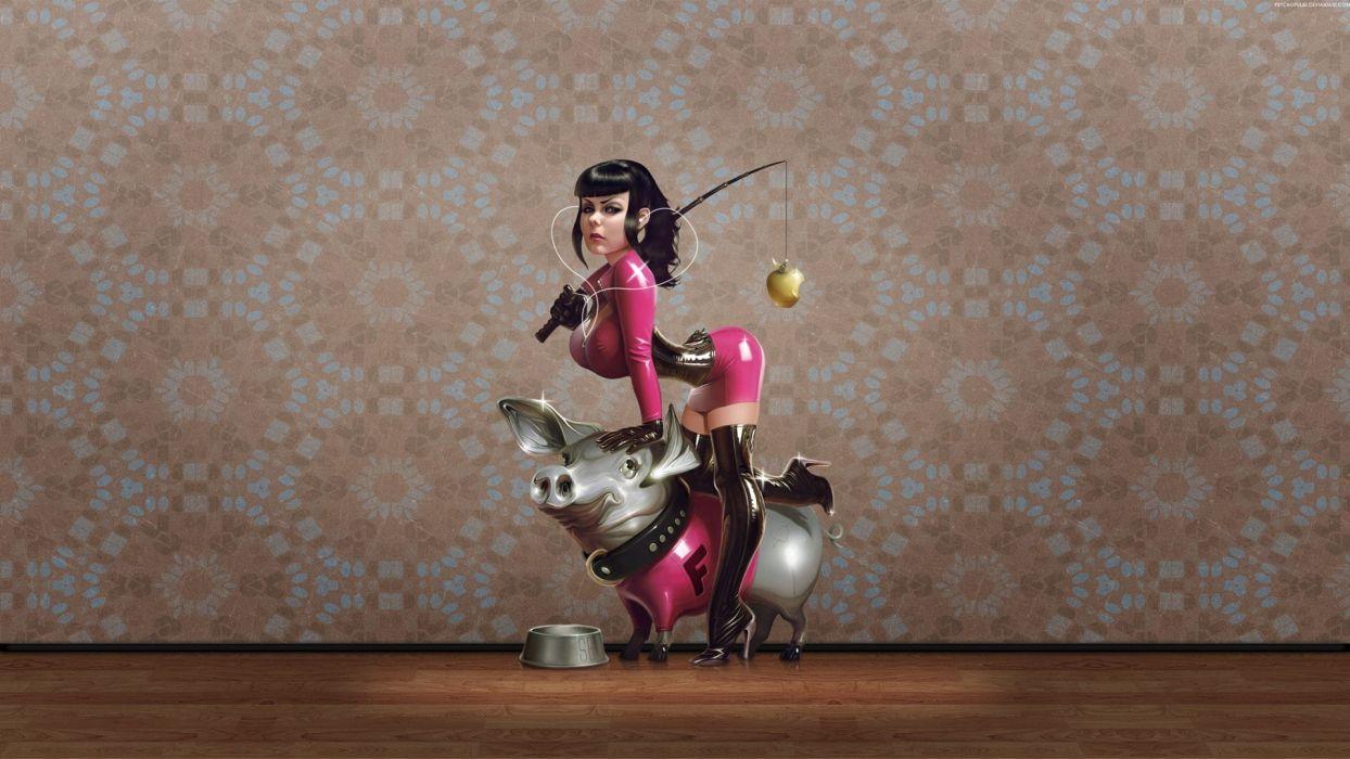 ORNAMENT TABLE - girl pigs pink latex wallpaper