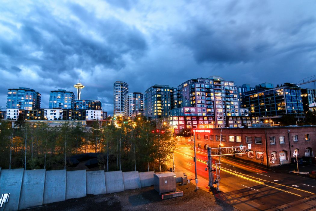 architecture bridges buildings cities City Downtown Night offices storehouses stores towers USA docks port art Seattle Washington Queen-City Jet-City monorail wallpaper