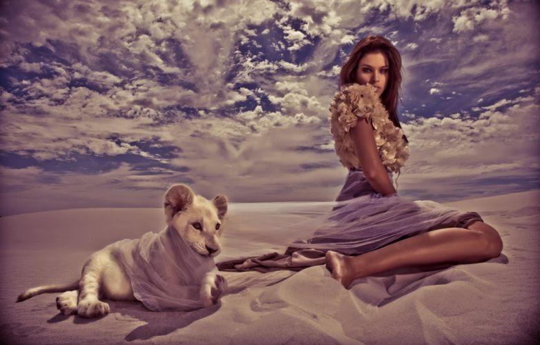 model female lovely digital beautiful serene woman art wallpaper fashion lion cub girl cute photography fantasy wallpaper