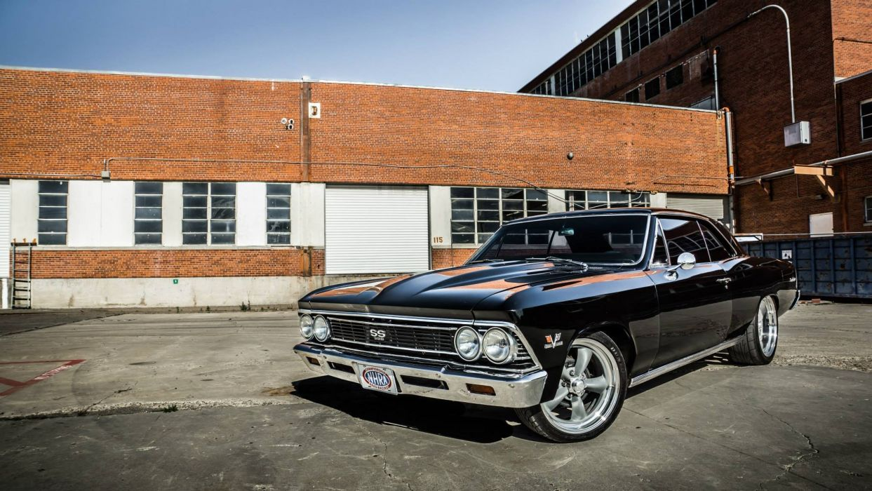 Chevy chevelle vs Ford mustang vintage cars wallpaper