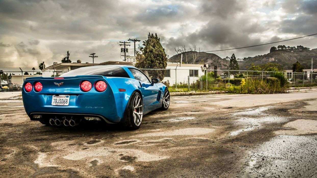 chevy Z06 Corvette blue coupe cars wallpaper