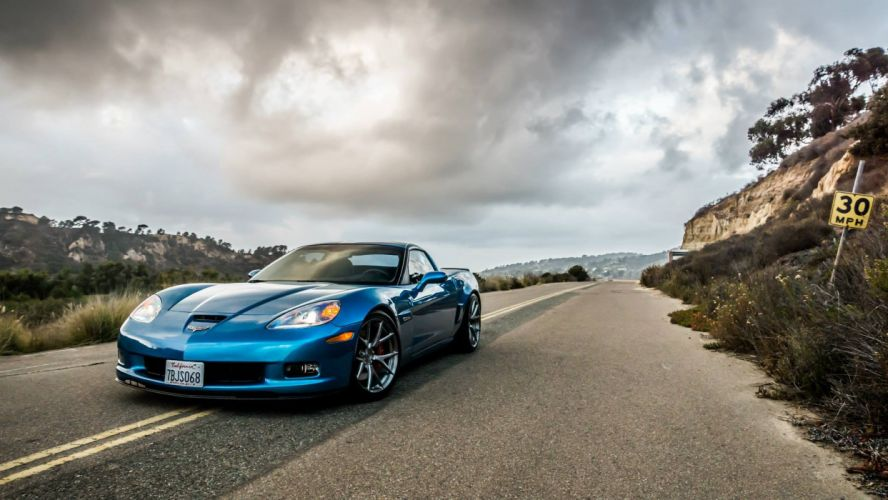 chevy Z06 Corvette blue coupe cars wallpaper