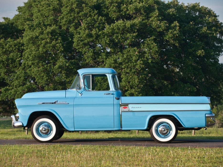 1958 Chevrolet Apache 3-1 Cameo Fleetside Pickup (3A-3124) retro wallpaper