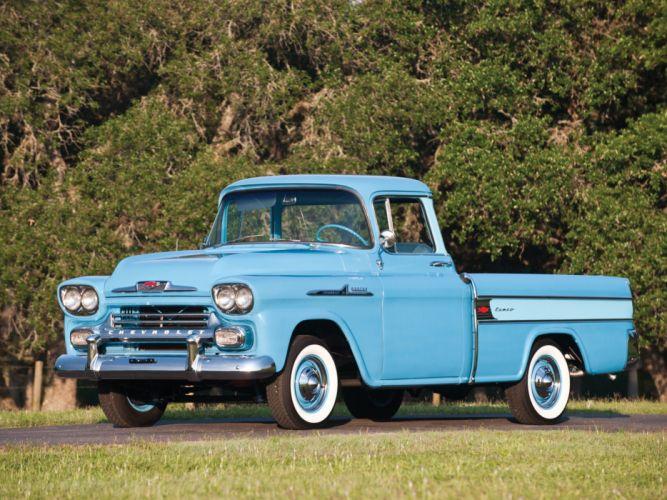 1958 Chevrolet Apache 3-1 Cameo Fleetside Pickup (3A-3124) retro wallpaper