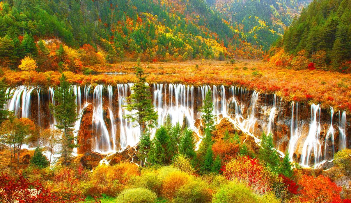 colorful nature cascades beautiful autumn view mountain waterfall trees foliage wallpaper