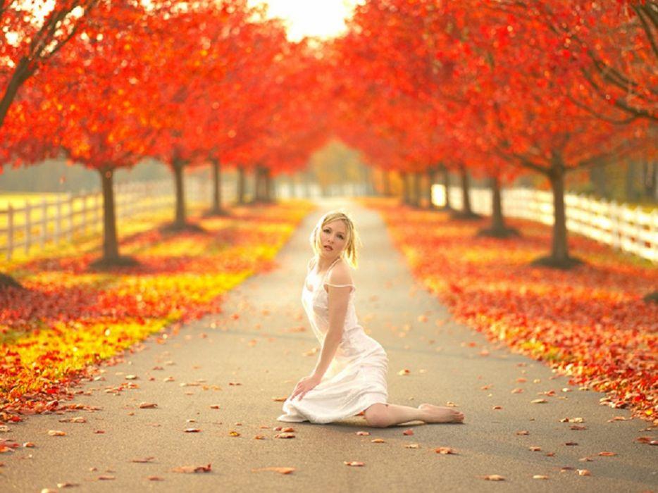 wooden fence park pathway nature model trees women white lace dress autumn wallpaper