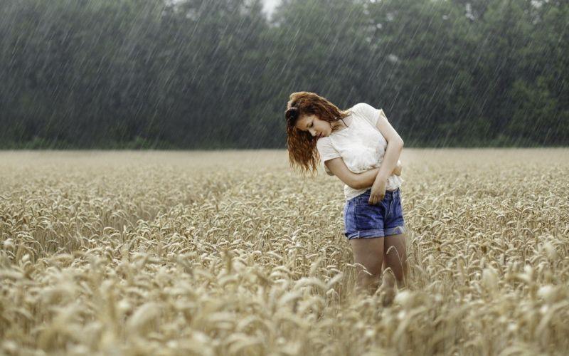 field wet model rain wallpaper