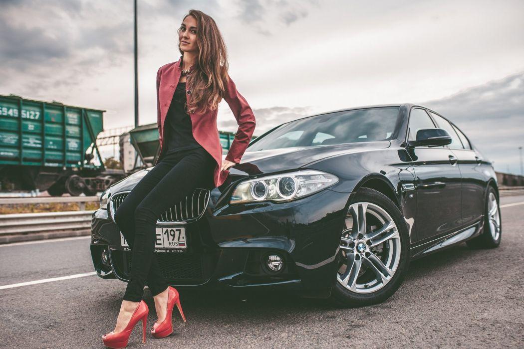BMW 528i Girl Legs Model Woman View Hair Car Road wallpaper