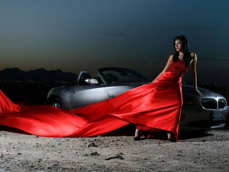 BMW Girl Model Woman Hair Car RED wallpaper