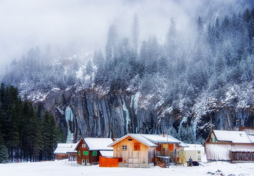 landscape snow forest home tree amazing mountain wallpaper