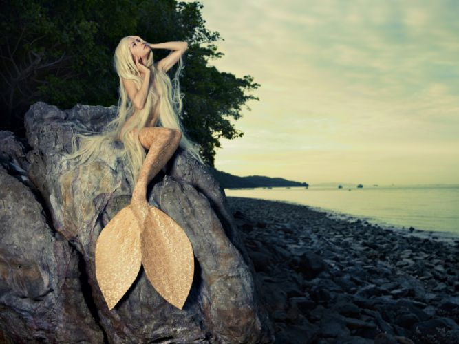 girl mermaid tail blonde long hair look makeup sea wallpaper