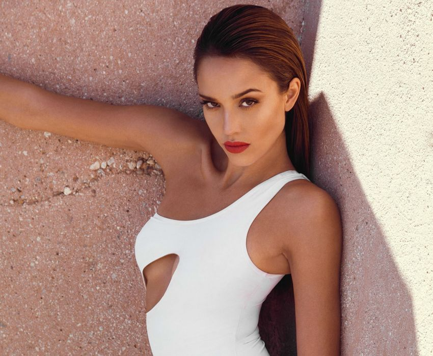 jessica alba makeup dress actress look wallpaper