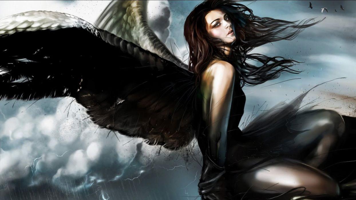DARK ANGEL - sky girl art wallpaper
