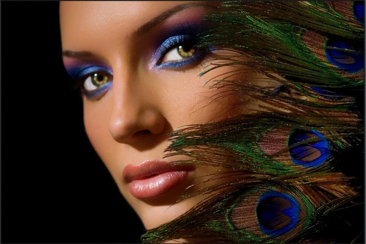 lovely delicate black harmony nice beautiful woman tender makeup elegantly amazing blue pretty peacock feathers sexy beauty female lady hot cool girl face model feathers great photography eyes lips wallpaper