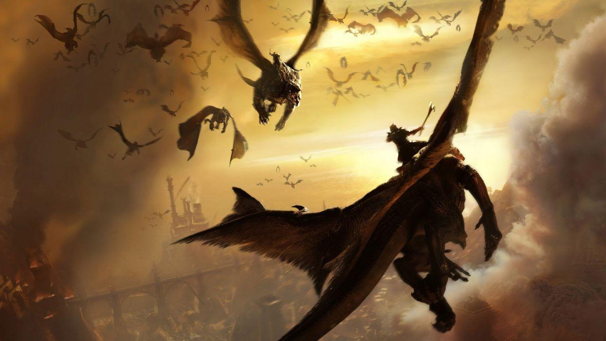 HERD OF DRAGONS - warrior flying wallpaper