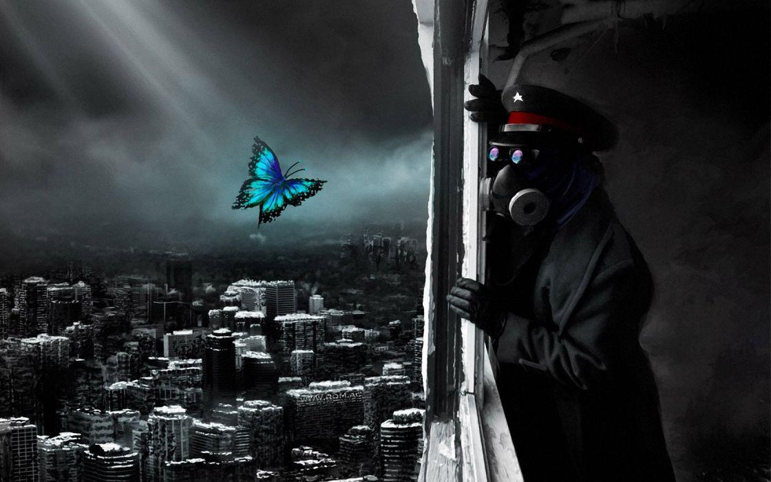 POLUTTION - mask cap star city butterfly wallpaper