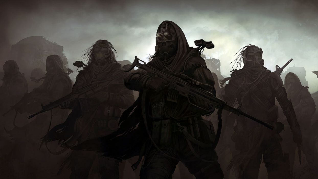 POLUTTION - soldiers guns mask war wallpaper
