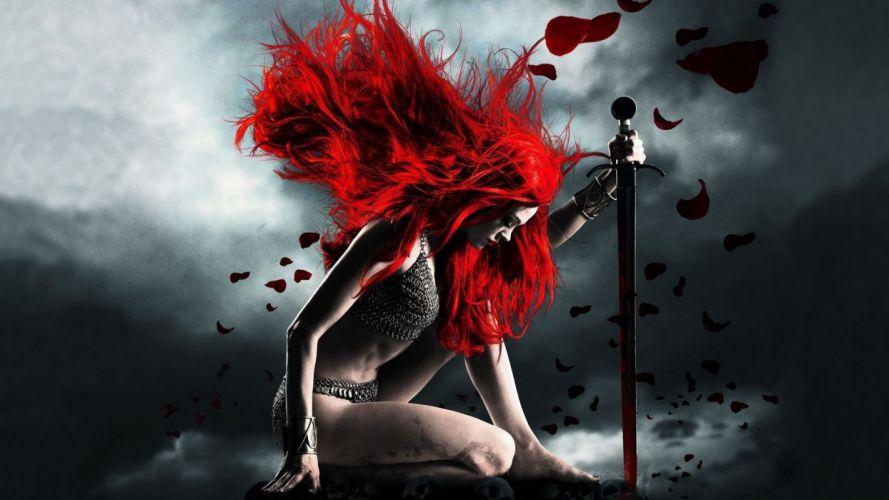 RED HAIRED - fantasy warior sword wallpaper